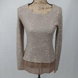 Venus Sequined Sweater with Sheer Hem, sz XS